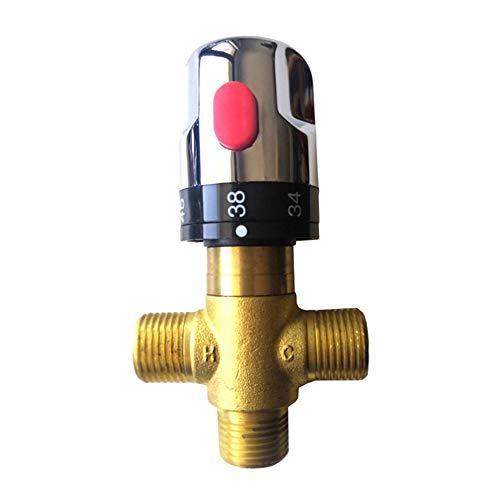 Duscharmatur Thermostatventil Solar Warmwasserbereiter Mischregler Ventil massiv Messing G1/2 männlich 3-Wege Thermostat Mischventil Wassertemperatur Duschsteuerung