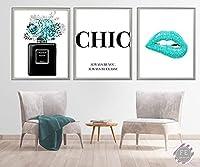 ティールファッションウォールアートホームキャンバス絵画シックな香水グラマーリップポスターとリビングルームの家の装飾のための印刷画像-40x50cmx3Pcs-フレームなし