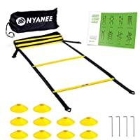 Nyanee Tangle-Free Speed and Agility Ladder Training Set with 12 Rung and 15 ft Length