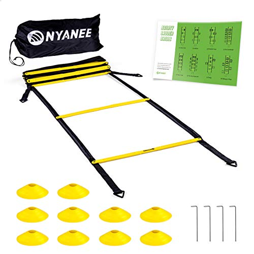 Nyanee Tangle-Free Speed and Agility Ladder Training Set – Comes with 12 Rung and 15 ft Length, Agility Ladder with 10 Cones & Carrying Bag, Footwork Training for Softball, Soccer, Footbalt etc.