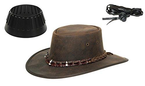Barmah Hats Barmah 1033 Croc Outback Lederhut aus Australien + Hutablage & Kinnriemchen | Braun/Brown | Size XXL