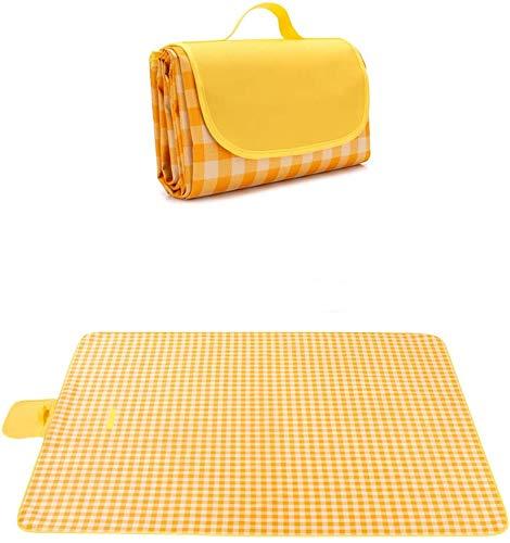 7WUNDERBAR Picknickdecke 200 x 200 cm Stranddecke Picknickmatte Campingdecke Strandmatte Outdoor wasserdichte sandabweisend mit Tragegriff maschinenwaschbar für Picknick,Wandern,Camping, Strand (gelb)