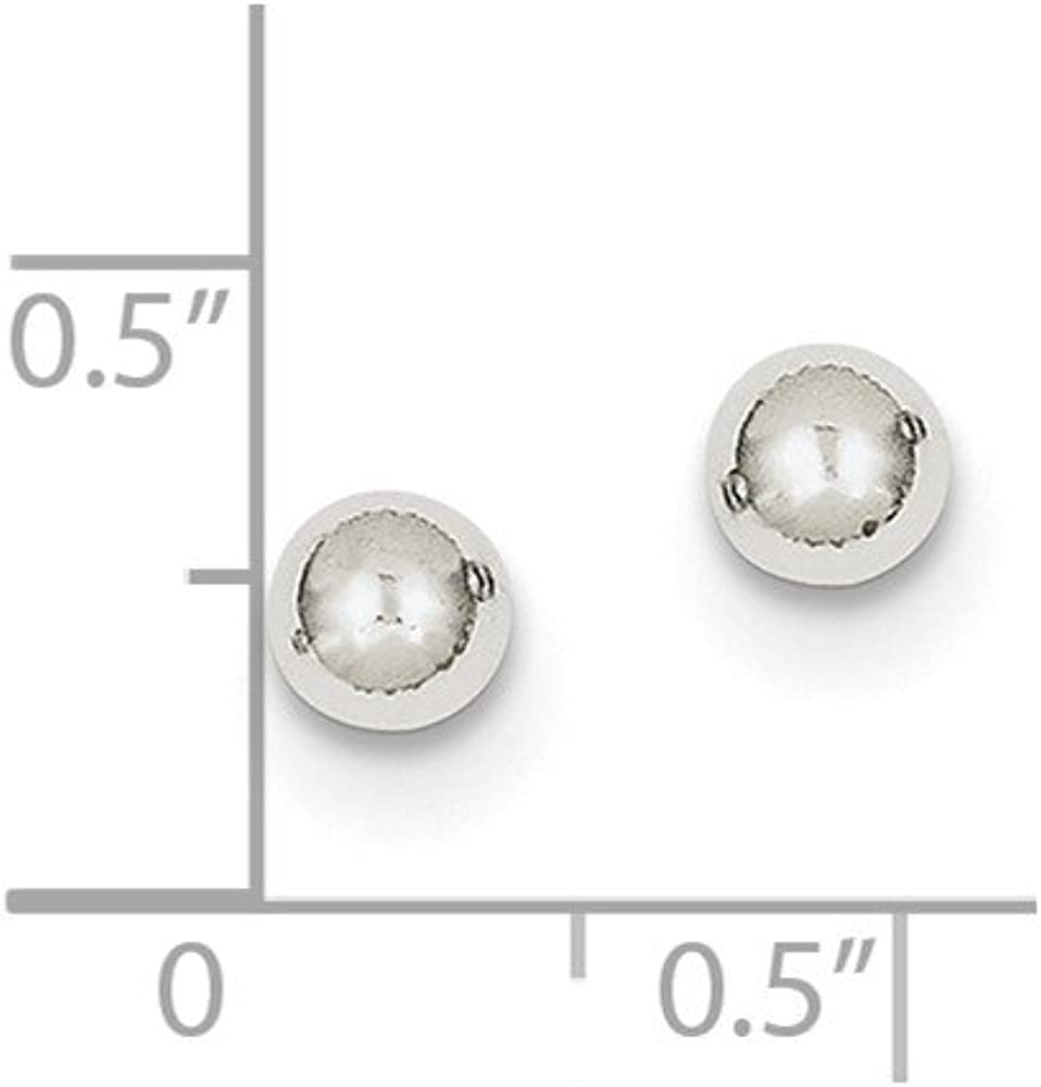 10k White Gold Polished 5mm Ball Post Earrings