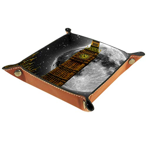 AITAI Valet Tray Vegan Leder Nachttisch Organizer Schreibtisch Storage Plate Catchall Big Ben London Moon Back Pattern