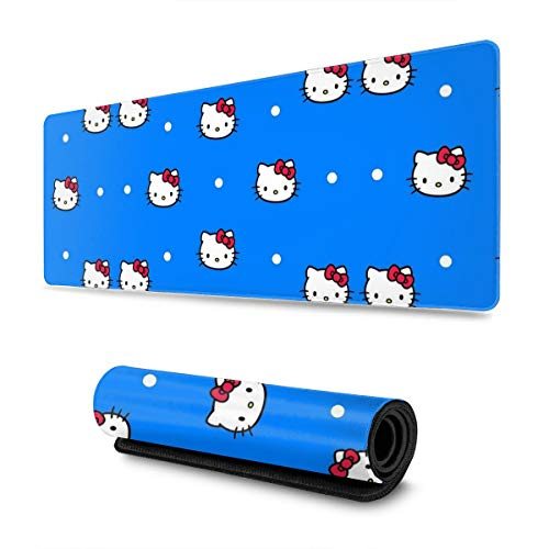 Large Gaming Mouse Pad Blue Hello Kitty Extended Desk Pad for Computers Thick Keyboard Mouse Mat Non-Slip Rubber Base Mousepad 11.8 X 31.5 X 0.12inch