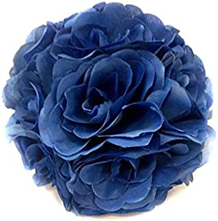 Ben Collection Fabric Artificial Flowers Silk Rose Pomander Wedding Party Home Decoration Kissing Ball Trendy Color Simulation Flower (Royal Blue, 20cm)