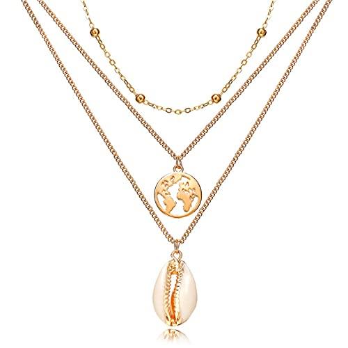 FGFDHJ Collar Gargantilla de Concha de Perlas Multicapa Collares y Colgantes para Damas Charm Gold Sliver