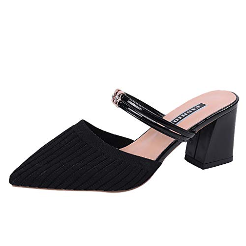 Buy Xinantime Womens Ladies Pointed Toe Solid Square Heel Mesh Slip On Sandals Causal Slipper Shoes ...
