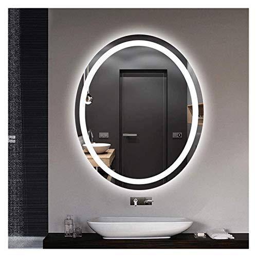 JKFZD Espejo Decorativo Moderno Elíptico Espejo de Tocador de Baño Inteligente con Luz Led Espejo de Belleza Antiniebla para Baño Montado en La Pared (Color : White Light, Size : 50x70cm)