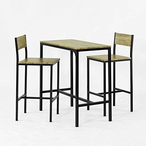 SoBuy Barbord och 2 barstolar med hyllor Matgrupp köksö med sittplats Längd 89 cm Bredd 45 cm Höjd 87 cm, Testad för 150 kg (OGT03-N)