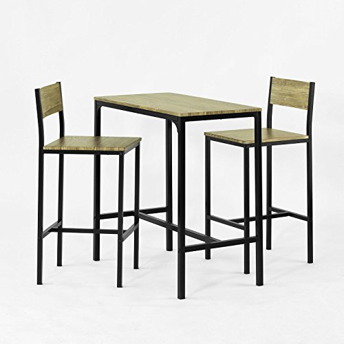 SoBuy® OGT03-N Ensemble table de bar + 2 chaises, Set de 1 Table + 2 Chaises, Table haute cuisine