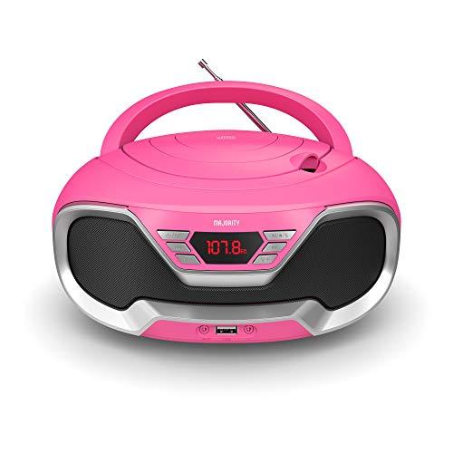 Majority Eaton – Radio Cassette Reproductor CD portátil, Bluetooth, Radio FM, Conector AUX 3,5 mm y USB, Equipo de música con Cable y Pilas, con Altavoces estéreo, para Adultos y niños (Rosa)