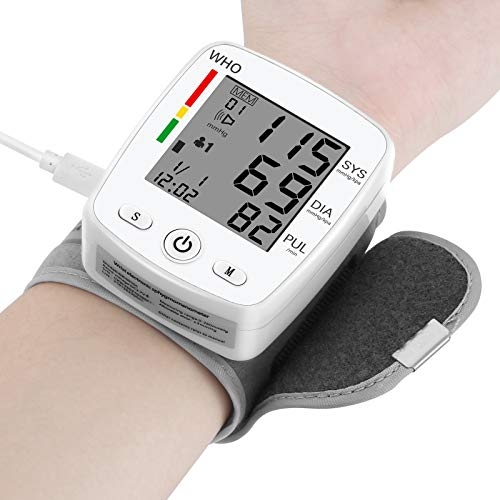 TSAI Wrist Blood Pressure Monitor with USB Charging, Portable Automatic Digital Blood Pressure Machine with Portable Storage Bag , Large LCD Display Dual Users Mode for Home Use