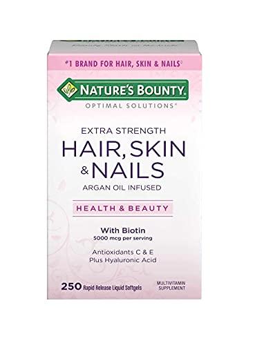 Natures Bounty Hair Skin Nails com Biotina 250 Softgels de Liberação Rápida