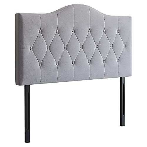 HOMCOM Kopfteil für Bett gepolstert in grau Pappel Polyester 185 x 8 x 134 cm