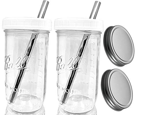 Smoothie Cup Glass Ball Mason Jar with STAINLESS STEEL Straws