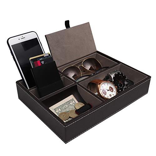 Belle Vous Svuotatasche Pelle - 25,7x18,6cm Svuotatasche da Uomo con 5 Scomparti - Vassoio Organizer per Chiavi, Telefono, Portafoglio e Monete - Elegante scatola di Presentazione per uomo (Marrone)