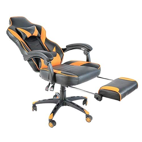 ZGQA-GQA Silla de Oficina de Moda de Tipo C de Oficina Silla giratoria Silla Racing Pie de Nylon Plegable con reposapiés Negro y Naranja