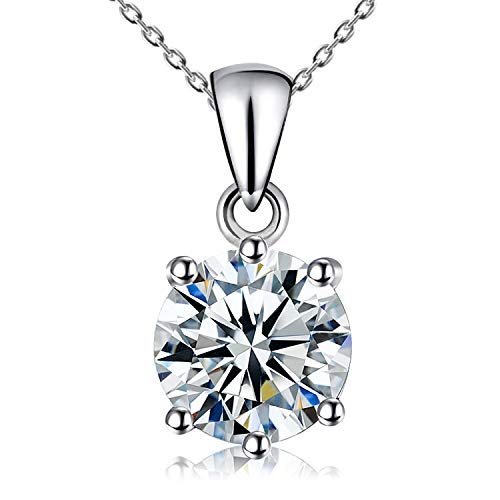 Kigmay Jewelry 925 Sterling Silver Round Cut Clear Cubic Zirconia CZ Solitaire Pendant Necklace for Women, 16'