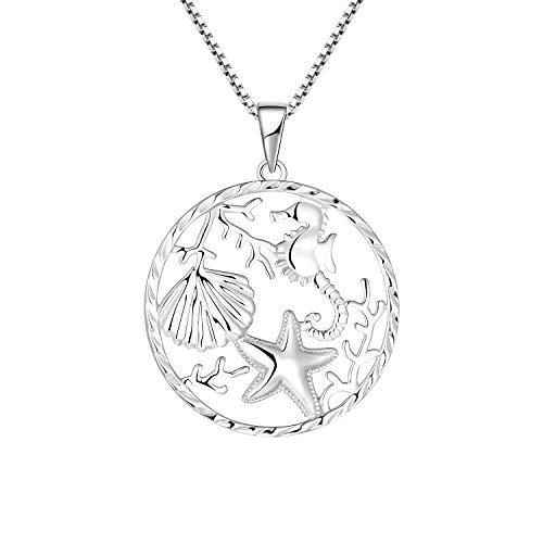 JO WISDOM Seepferdchen Anhänger Seestern Kette Silber 925 für Damen Meer Schmuck