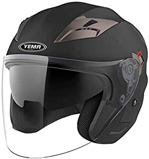 Motorcycle Open Face Helmet DOT Approved - YEMA YM-627 Motorbike Moped Jet Bobber Pilot Crash Chopper 3/4 Half Helmet with Sun Visor for Adult Men Women - Matte Black,Small