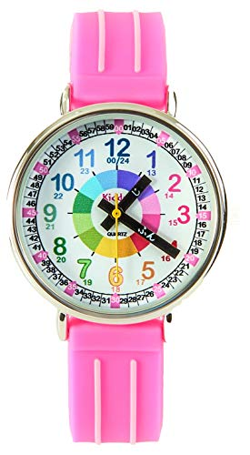 キッダス (Kiddus) 子供 知育 腕時計 スペイン発 海外で大ヒット アナログ クオーツ 防水 おしゃれ キッズ 男の子 女の子 (ピンク)