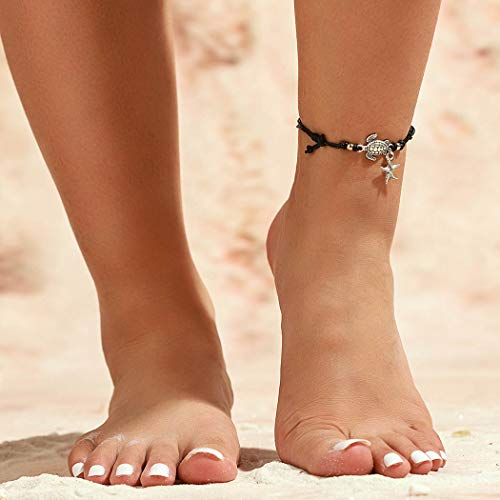 Fairvir Tobillera con colgante de tortuga de estrella de mar, color negro, cadena para el pie, cuerda ondulada, cuentas de playa, tobilleras para mujeres y niñas