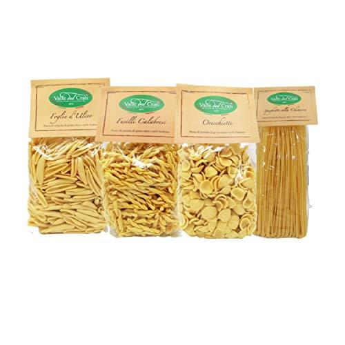 Box di Pasta Orecchiette Spaghetti alla Chitarra Foglie D'ulivo e Fusilli, Box Regalo Pasta Mista Artigianale in Semola di Grano Duro Pasta 100% Italiana , 4 Confezioni di Pasta da 500 gr cadauno