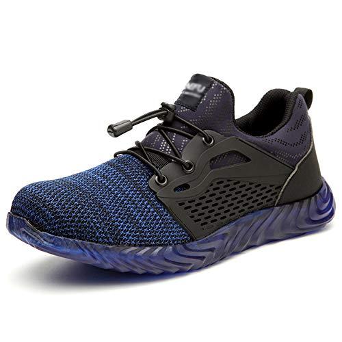 Hombre Calzado De Seguridad S3 Mujer Zapato Trabajo Antideslizante Transpirable Ligeras Zapatos De Industria Unisex,Azul,45