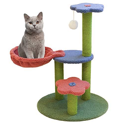 Macallen Árbol Rascador para Gatos, Juguete para Interiores para Gato con Cama para Gatos, Rascador Gato con una Altura de 70cm, Árbol de Gato Estable, Superficie de Cachemira Suave - Multicolor