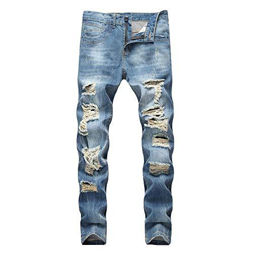 KEERADS Jeans Hommes Straight Vintage Rétro Jeans Pantalon de Travail Militaire Cargo Pants Casual Trousers en Denim sans Ceinture(34(FR42),Bleu Clair)