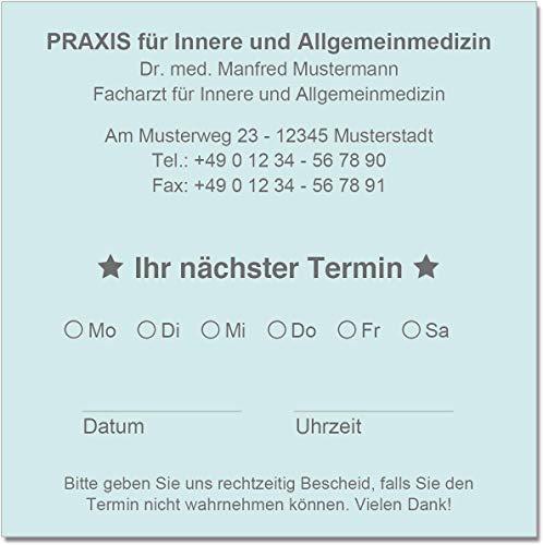 500 Terminzettel Terminkarten nächster Termin mit Ihrer Adresse personalisiert in praktischer Zettelbox mit Stiftehalter 10 x 10 cm (hellblau)