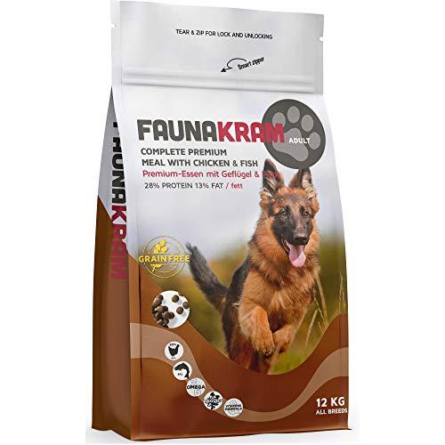 Faunakram Premium hundefutter trockenfutter getreidefrei - Hundetrockenfutter mit Geflügel und Fisch für ausgewachsene Hunde Aller rassen, (Huhn   Fisch, 12 kg)