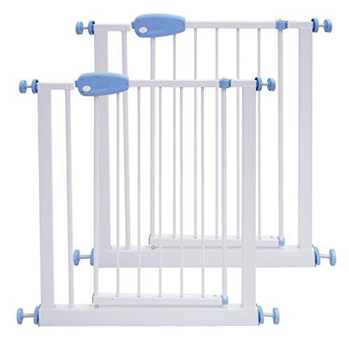 Leogreen - Barrière de Sécurité sans Perçage Barrière Sécurité Enfant Extensible de 74 à 87 cm, Easy Lock avec Une Main, 2 Pcs