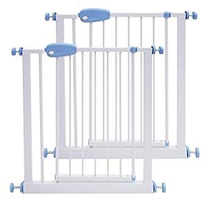 Leogreen - Puerta de Seguridad para Niños Perros Escaleras Barrera de Seguridad de metal, Extensible de 74 cm a 87 cm, 2 pcs