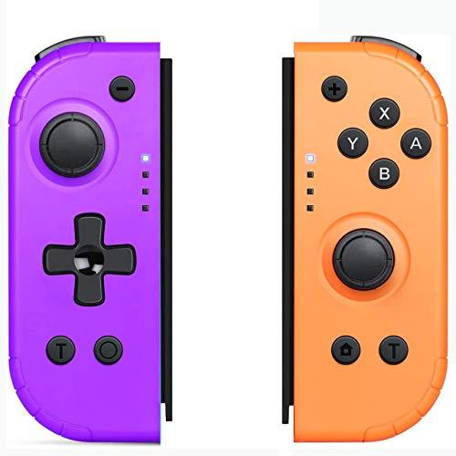 YIKUI Drahtloser Joy Cons Controller (L/R) für Nintendo Switch, Einstellbarer Turbo unterstützt Gyro-Achse und Dual Vibration-Funktionen Kompatibler Nintendo Switch/Switch Lite (Lila & Orange)