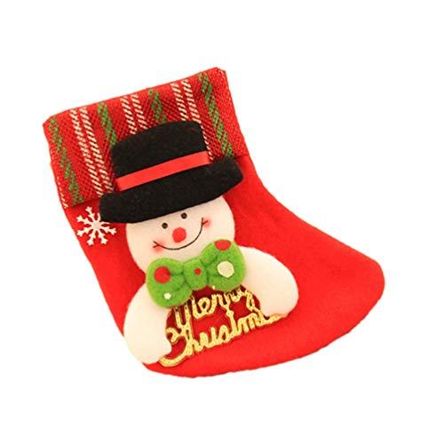 Angoily Mini Medias de Navidad Patrón de Muñeco de Nieve Bolsa de Regalo de Dulces Titulares de Cubiertos Árbol de Navidad Decoraciones Colgantes para La Fiesta de Navidad Cena
