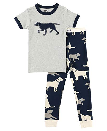 Lazy One Short-Sleeve Pajamas Sets for Girls and Boys, Kids' Soft Animal PJs, Dog, Puppy (Lab, 8)