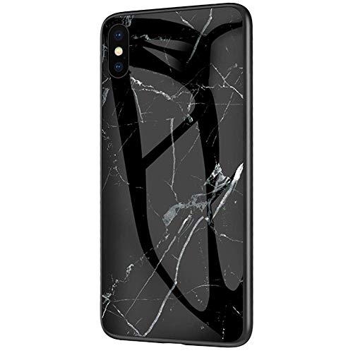 QPOLLY Compatible avec iPhone XS Max Coque, Brillante Marbre Motif Arrière en Verre Trempé Design Ultra Mince Souple TPU Silicone Bumper Antichoc Anti-Rayures Housse Etui de Protection,Noir