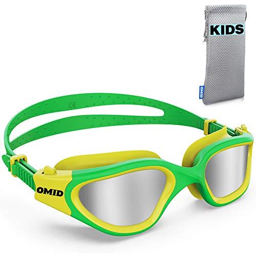 Gafas de natación para niños, OMID P2 cómodas polarizadas, unisex, antiempañamiento, sin fugas, para niños, con bolsa de protección UV, de 6 a 14 años (oro verde)