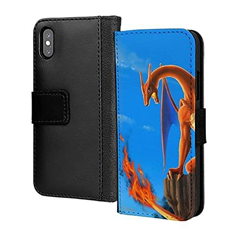 Brillante Charizard Pokemon Cartoon teléfono caso cubierta pu cuero cartera en tarjeta teléfono caso cubierta para iPhone 11