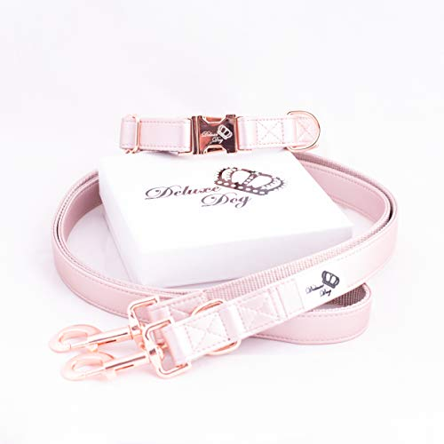 Deluxe Dog Halsband Set Rose Gold (S/M)