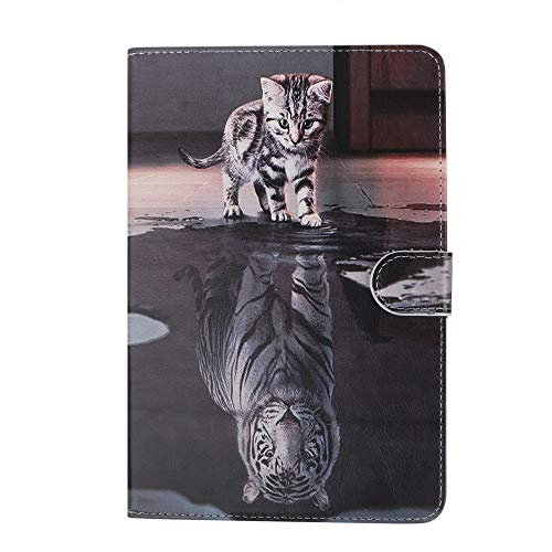 Case for Tablet iPad Mini, Flip Cover Leather Wallet with Card Holder for iPad Mini 1 2 3 4 5 - Cat and Tiger