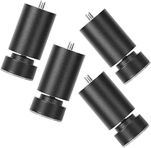 FTYYSWL Patas de Muebles 4X, pies de aleación de aleación de Aluminio Negro, pies del gabinete cilíndrico, Patas de Repuesto, pies para refrigerador, Ajustable 0-0.8cm, Accesorios de Muebles