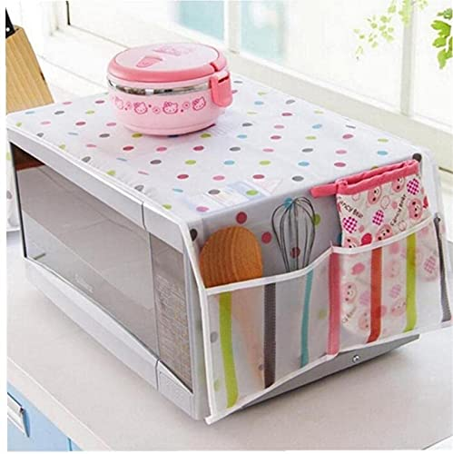 Ghlevo 1pc Microwave Dust Proof Cover Microwave Oven Protective Cover with 2 Pouch Cotton Cloth Cover Home Decor