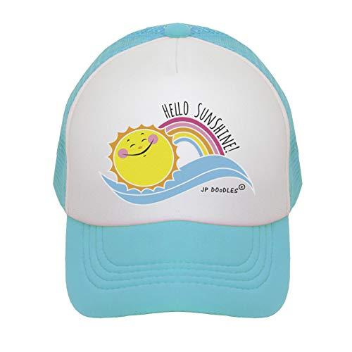 JP DOoDLES Hello Sunshine Kids Trucker Hat. Baseball Mesh Back Cap fits Baby, Toddler and Youth (Teal, Kiddo 2-5 YRS)