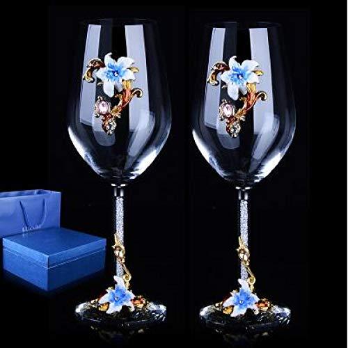 RONGXIANMA Copa de Vino 2 Piezas Copa de Cristal esmaltada Creativa Europea de Alto Grado/Copa de Vino Tinto con Diamante