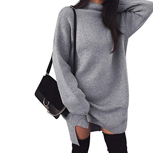 jieyun Suéter de cuello alto para mujer, informal, de manga larga, de punto, talla grande, suelto, vestido dividido