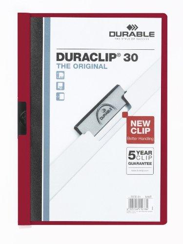 Durable 220031 Duraclip 30 - Carpeta para clasificar (vaina de 3 mm, para 30 hojas A4, 25 unidades), color morado