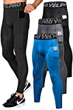 Lavento Men's Compression Pants Running Tights Leggings with Phone Pockets (3 Pack-3911 Black/Gray/Blue,Small)
